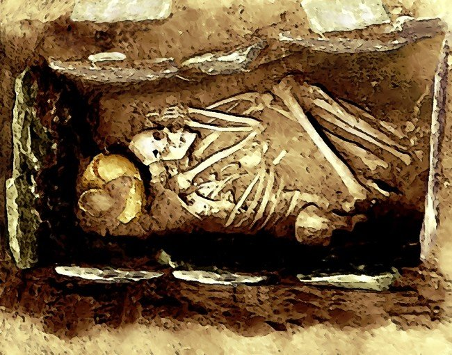 A Mississippian culture stone box burial with the body in the flexed position.