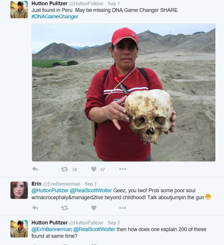 Screen capture of Twitter. The photo depicts a woman holding a deformed skull looted from a Peruvian cemetery.