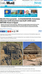 """Screen grab of the Daily Mail's false headline about the """"world's oldest pyramid."""""""